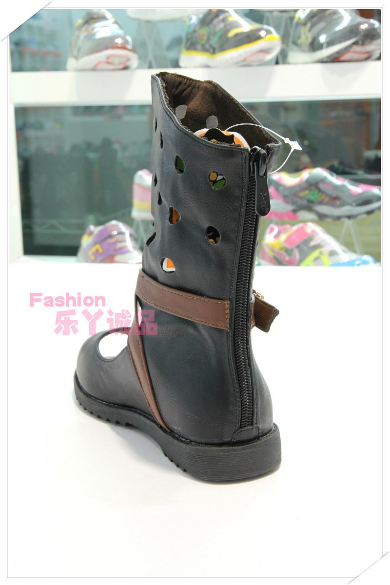 童鞋奔仔女时尚正品单皮半凉靴鱼嘴靴镂空露趾手电筒降压v童鞋板图片