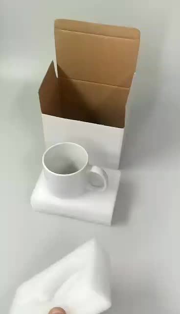 11oz coffee mug  white corrugated paper packaging gift shipping box with foam insert