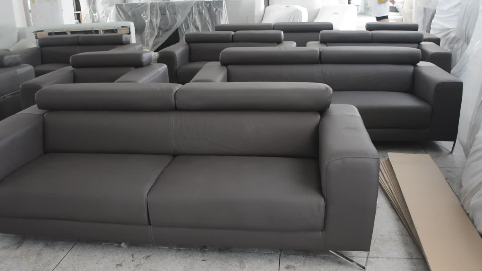 Modern Sofa Stainless Metal Italian Leather 321 From Chinese Manufacturer