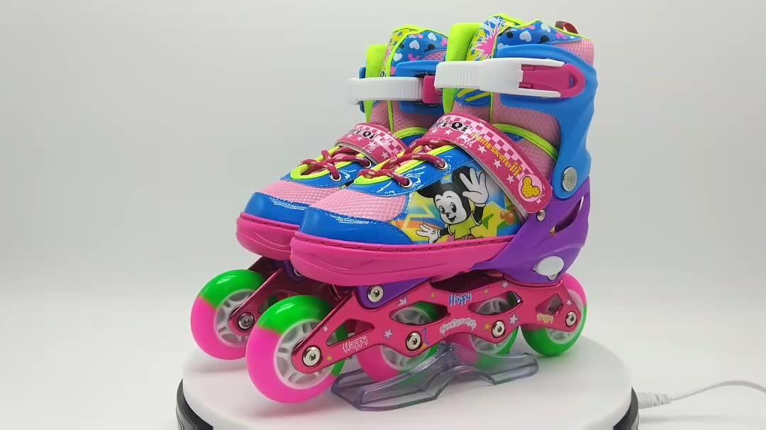 2017 popular patines patins inline rodas pu patins inline profissional personalizado rosa para meninas