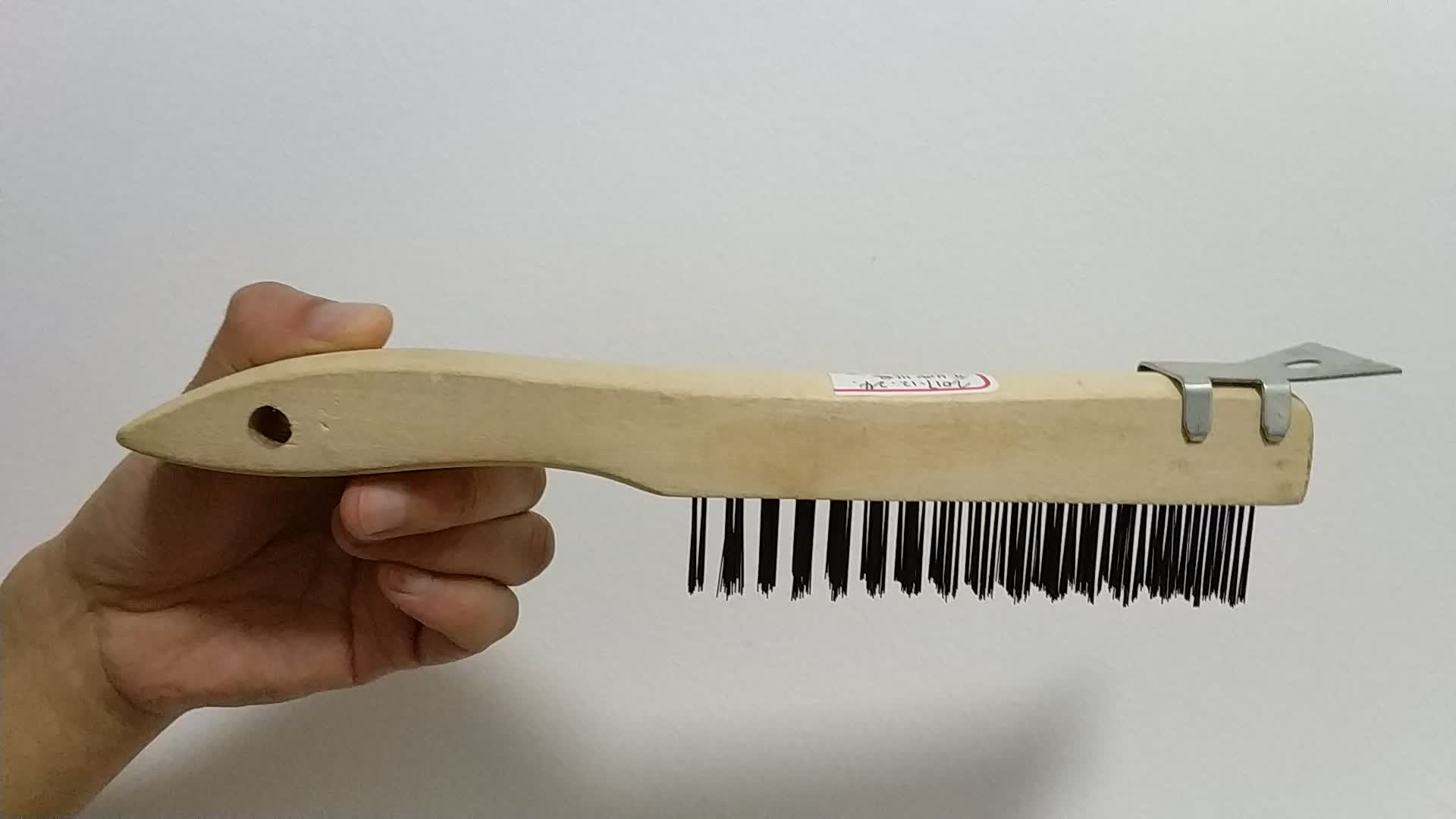 Wooden Handle Steel Wire Brush 4X16 Rows Stainless Steel Straight Black Wire Scratch Brush with Mini Scraper for Cleaning