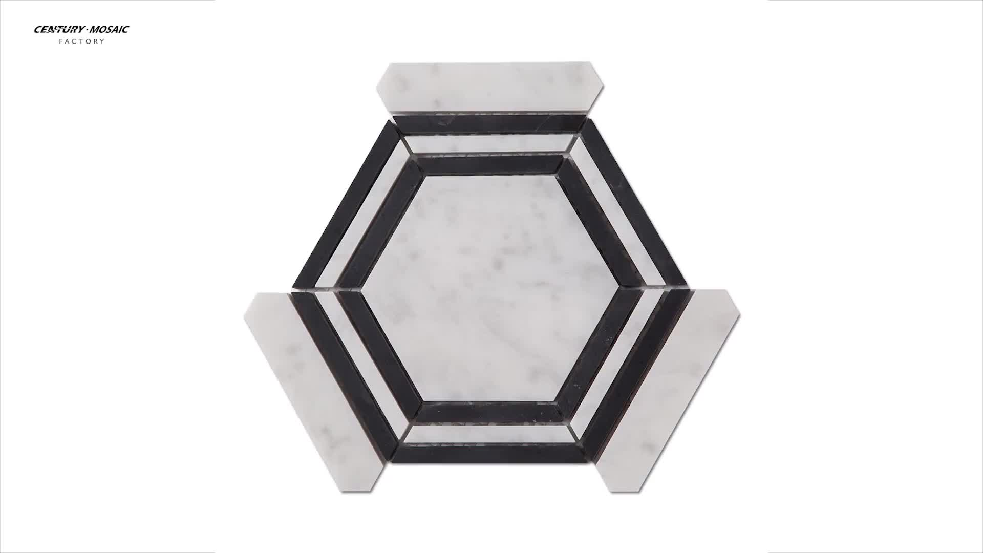 Black And White Natural Marble Big Hexagon Mosaic Tile Polished
