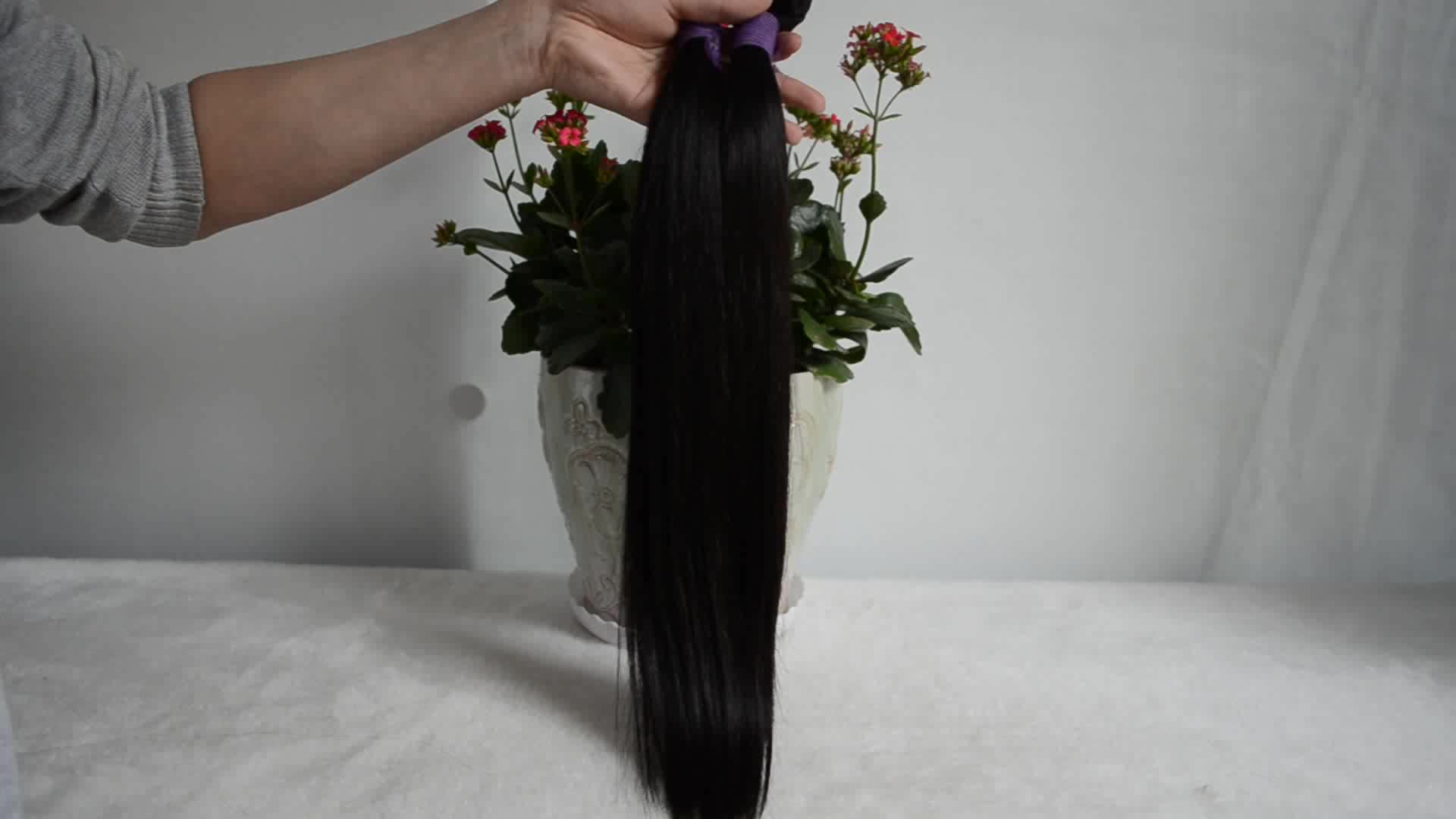 Commercio all'ingrosso fornitori capelli vergini non trasformati umani brasiliani fasci capelli lisci