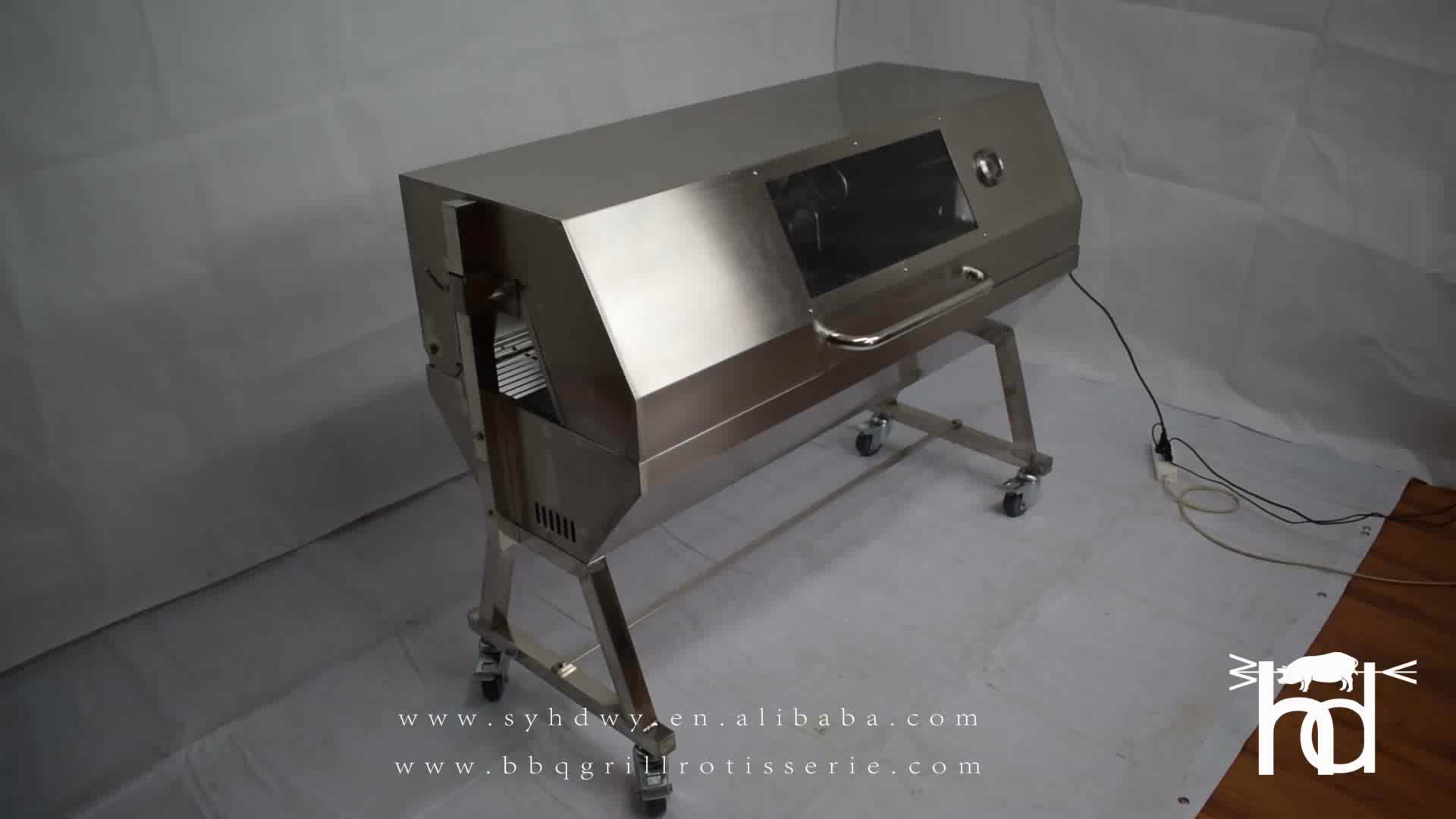 Outdoor large stainless steel hog lamb charcoal barbeque bbq rotisserie spit roast