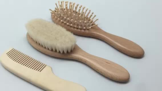 Wooden Baby Hair Brush and Comb Set Natural Soft Bristles Ideal for Cradle Cap Perfect Baby Registry Gift