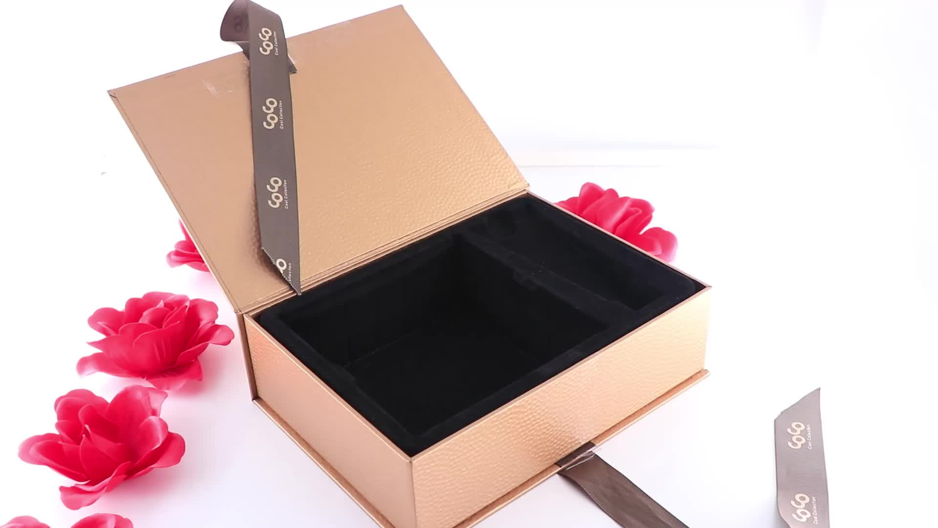 High quality luxury magnetic beauty cosmetic face mask packaging box with ribbon handle