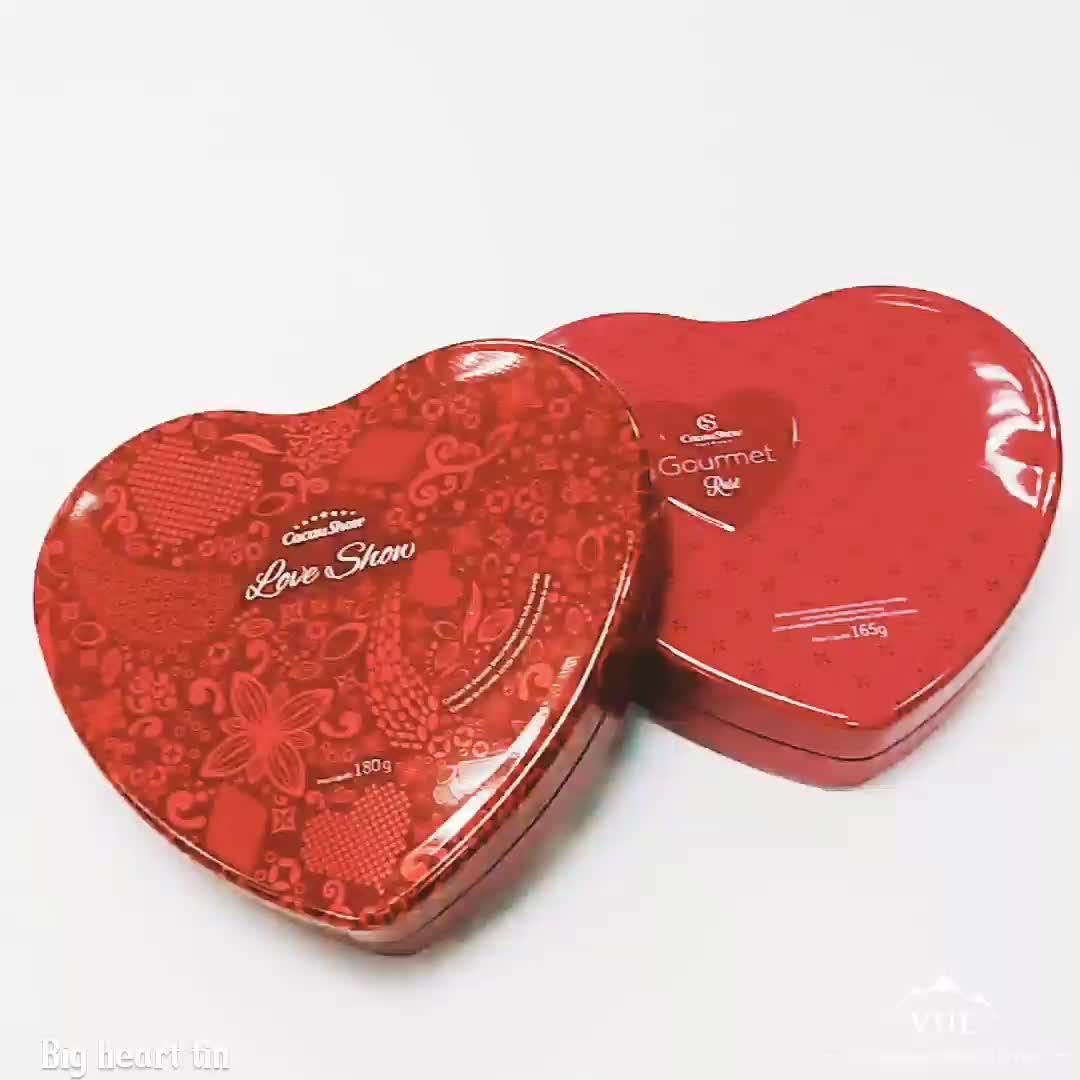 Heart shape custom metal tin box for chocolate