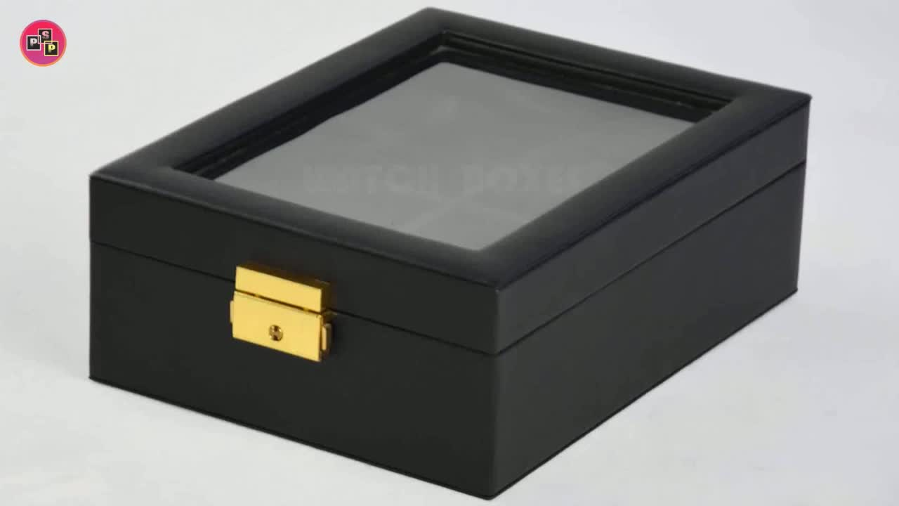 Elegant box for watch custom wholesale 10 compartments with window leather watch pack box with custom logo