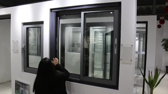 AS2047 aluminium frame sliding glass window with mosquito net