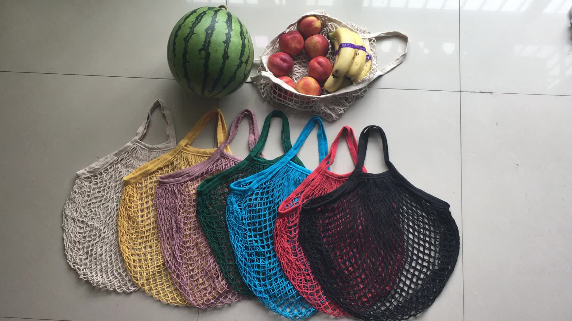Recycled grocery shopping fruit cotton net bag reusable tote cotton mesh bag