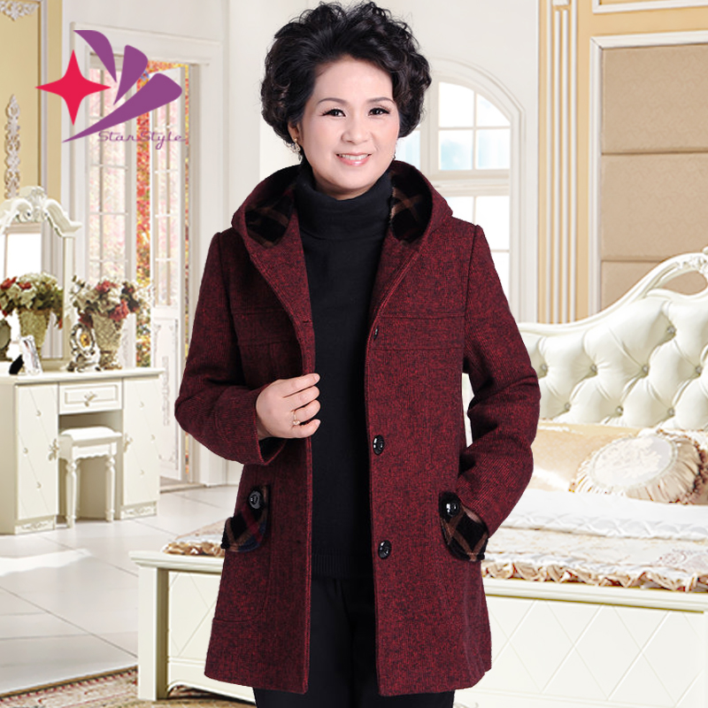】中老年女装冬装中年棉衣妈妈装毛呢外套40-50岁老年人奶奶装上衣