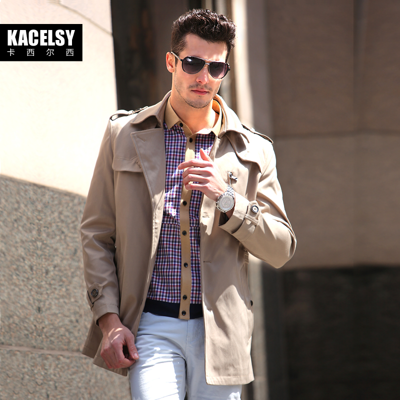 Spring men's kacelsy men's trench coat long trench coat plus size coat in the spring and autumn of England men's Windbreakers