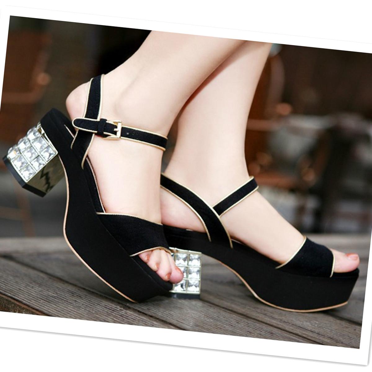 欧洲站miu缪新款女鞋 水晶钻高跟粗跟防水台 厚底磨砂皮水钻凉鞋