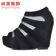 [Trial center official recommendation] new Roman style fish head shoes sandals slope with waterproof sandals mesh boots