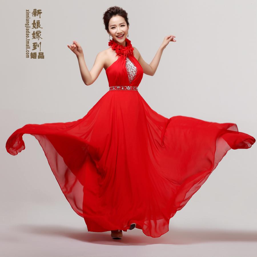 2013新款婚纱礼服 红色甜美花朵晚礼服奢华珠片360度雪纺敬酒服长