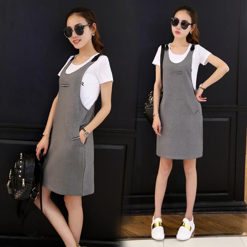 中长款背带裙女装夏装2016新款潮韩版连衣裙显瘦大码休闲两件套装