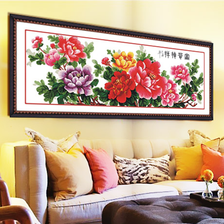 Latest accurate printed flower Peony blossom cross stitch cross stitch new living room series