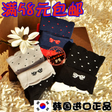 south korean imports of purchasing genuine ggorangnae dot bow socks women pure cotton socks women socks socks