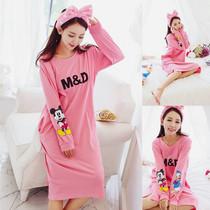 春秋季韩版长袖睡裙女纯棉大码宽松可爱卡通家居服可外穿长款睡衣
