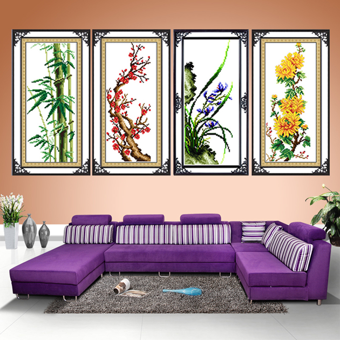 Silk plum, Orchid, bamboo and chrysanthemum four-draw latest cross stitch stitch new living room large new precision printing