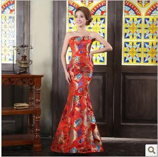 新娘结婚豪华拖尾鱼尾婚纱礼服 红金色绣龙演出服范冰冰龙袍绑带