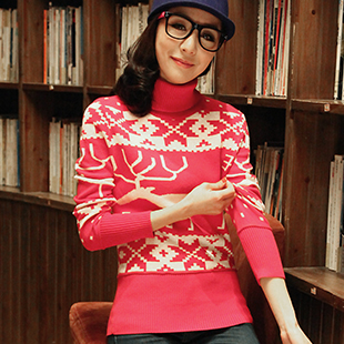 2013 spring new snowflake sweater sweater turtlenecks deer hook flower thread thin slim Korean 包邮