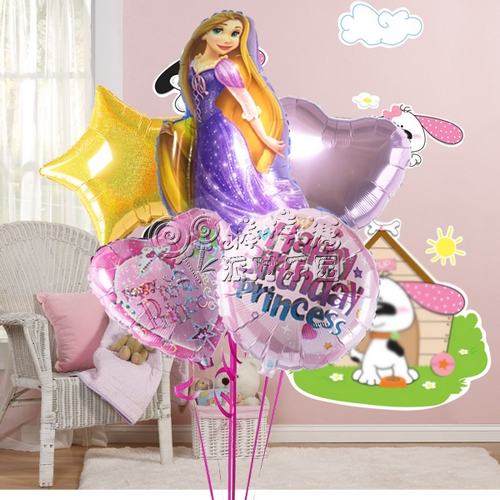 长发公主气球束/百天聚会/生日派对/孩子周岁/充氦气图片
