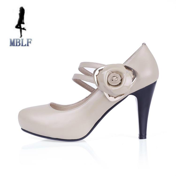 正品欧美真皮头层牛皮女鞋花朵裸色单鞋婚纱高跟鞋结婚鞋子新娘鞋