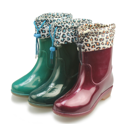 DOUBLE STAR / binary Women Pikou warm shoes plus cotton intercropping cotton rain boots water shoes boots female models in the tube