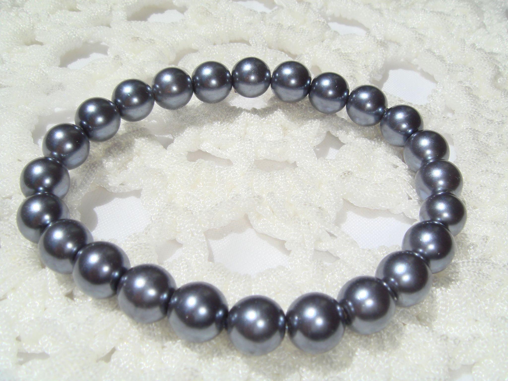 欧美外贸饰品  灰色  玻璃珍珠  质感   手链  1305