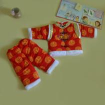 宝宝唐装 冬加厚套装婴儿红色唐装满月满百周岁服儿童唐装冬装