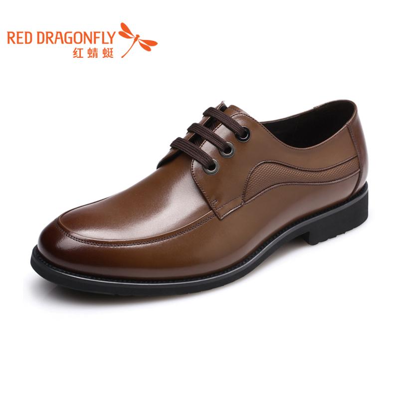 红蜻蜓 真皮男单鞋 新款正品时尚潮流商务休闲正装系带式男鞋