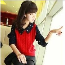 韩版女装日系翻领撞色麻花学院风套头长袖打底衫针织波点毛衣外套 价格:55.00