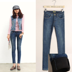 Korean style big size thick jeans feet pencil pants Slim