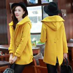 Korean style woolen coat elastic band hooded woolen coat