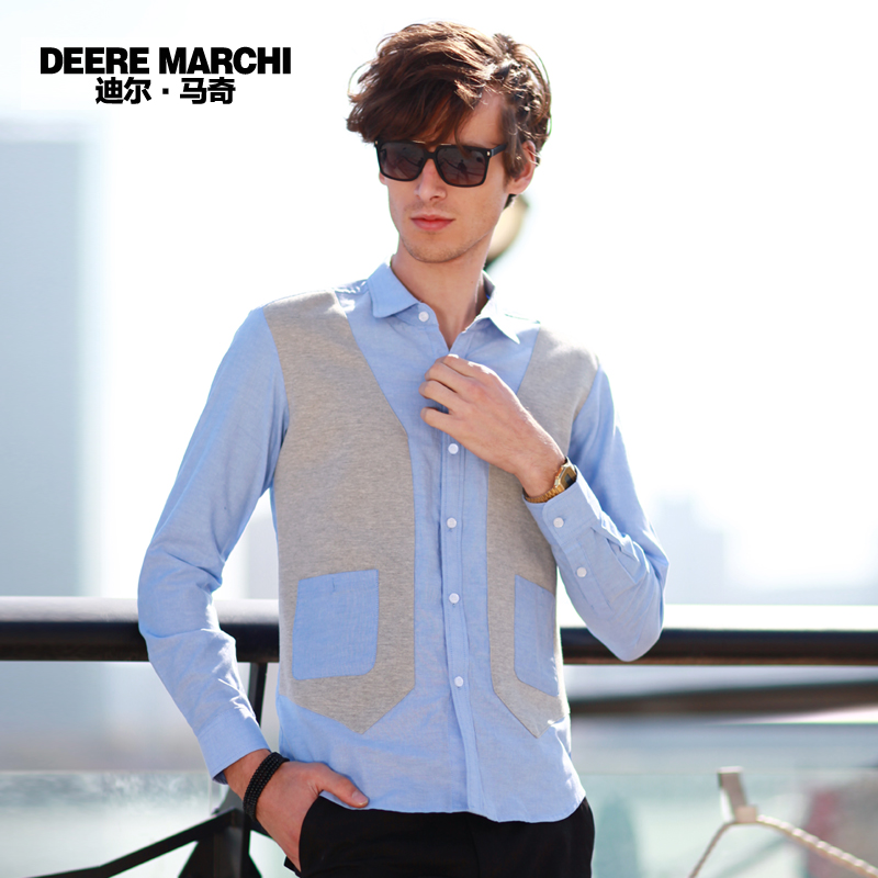 Рубашка мужская DEERE MARCHI DC02 Осень 2012 С остроконечным лацканом Длинные рукава ( рукава > 57см )