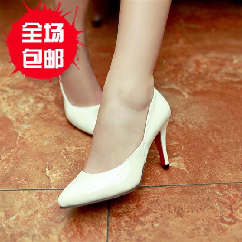 2013夏新款优雅漆皮纯色低帮细高跟女鞋工装白色单鞋凉鞋红色婚鞋