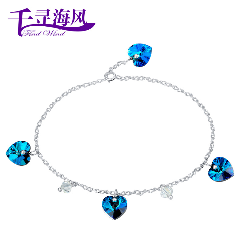 Chihiro ocean breeze 925 sterling silver Crystal anklet heart Korean ladies ' Swarovski elements