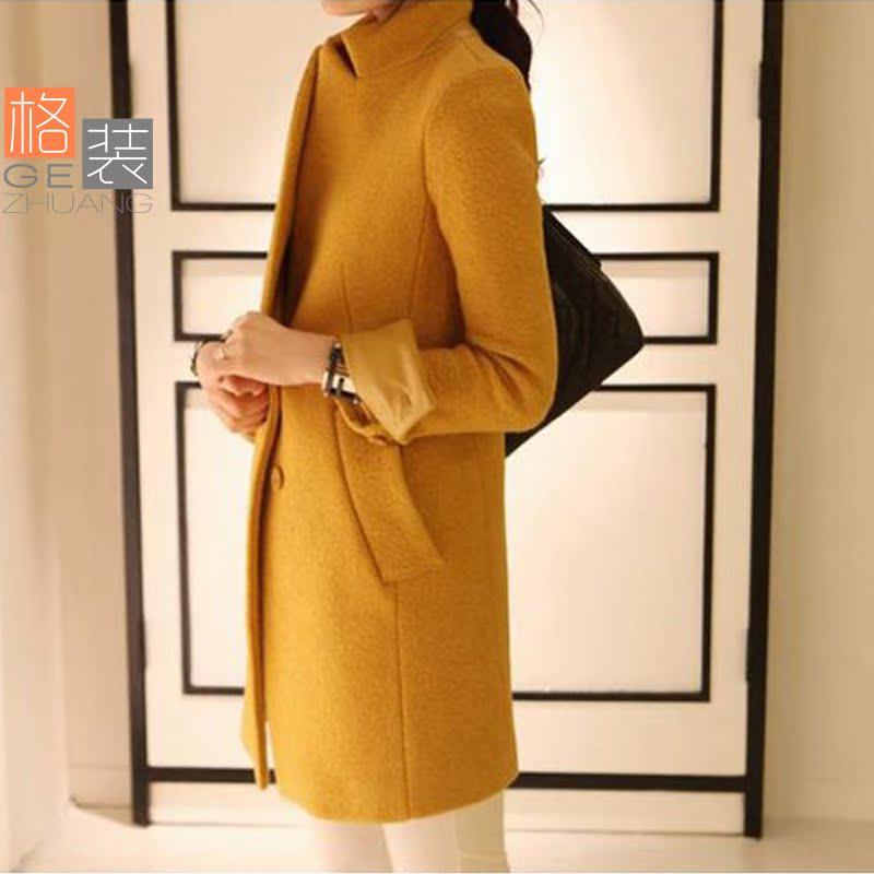 黄色毛呢大衣 女2013秋冬新款韩版宽松加厚伦敦呢 加厚毛呢外套