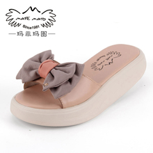 2013 summer fashion shoes leather bow boat trailer sandals slope with thick crust muffin flower sandals and slippers