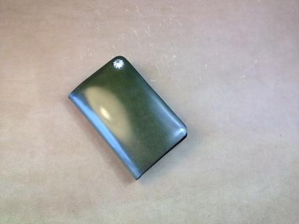 橄榄绿日本新禧马臀皮全手工制作goros风格卡包 没有现货需要定制