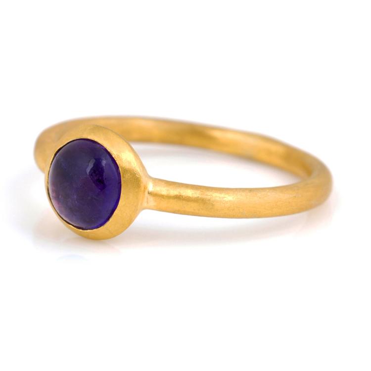 新款特戒指女结婚季尾戒诞生石天然紫水晶纯银镀金亚光原创手工糖果甜美