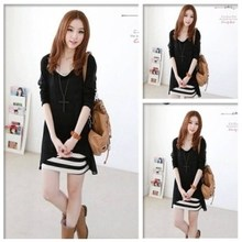 2013 spring and summer new Korean version of Women Spring striped vest dress chiffon two-piece skirt