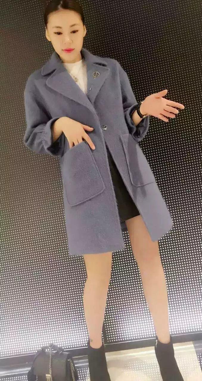 2016新款秋冬女装韩版修身西装领中长款羊毛呢外套女大衣蝶语8829