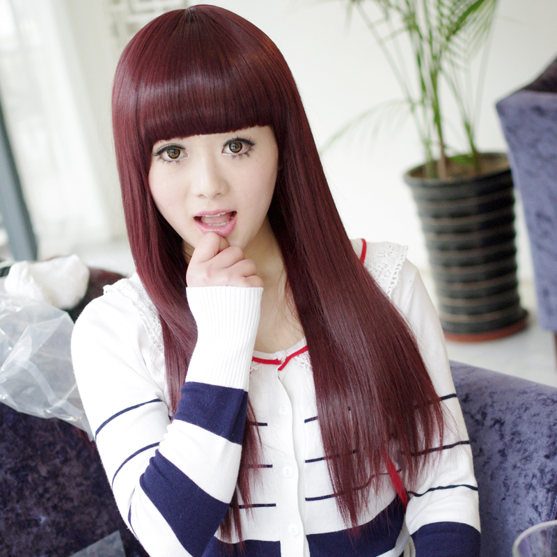 bai mei square wig long straight hair wig women the sweet wig long straight hair fluffy repair face round face