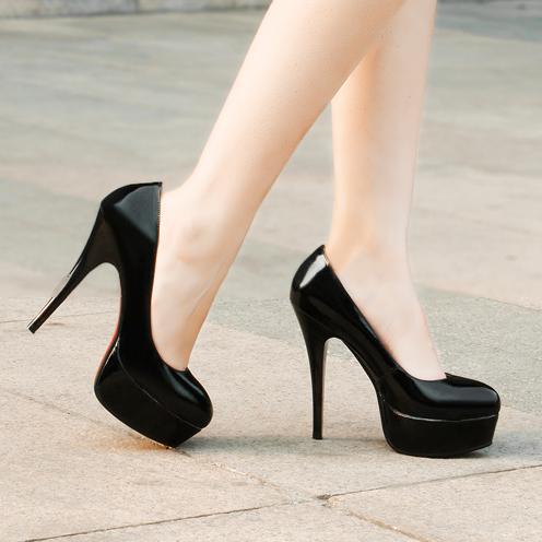 裸色高跟鞋单鞋 欧美女鞋夜店 防水台漆皮鞋性感 亮皮新娘鞋 婚鞋