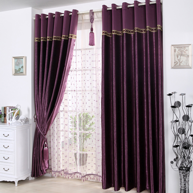 Purple Butterfly textile high-grade Satin embossed curtains thickened bedroom curtains finished curtains special package mail