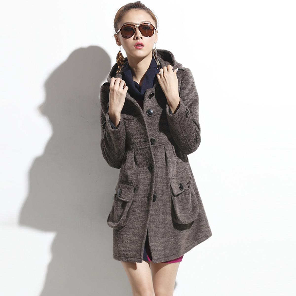 женское пальто Apocobpoco g0011 Осень 2013 Длинная модель (80 см<длина изделия ≤ 100 см) Apocobpoco Длинный рукав Классический рукав