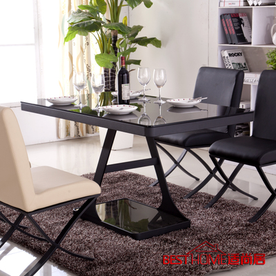 Modern fashion simple black metal glass dining table dinette combination of double glass shelf