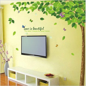 Spiritual home The new removable wall stickers monkey climbing tree fifth generation of transparent PVC removable wall stickers cute cartoon film